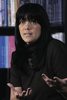 Jadranka Seselj wife of Serb ultra-nationalist leader Vojislav Seselj gestures during an interview with Reuters in Belgrade